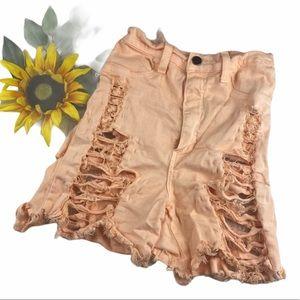 Fashion Nova Destroyed booty Shorts peach